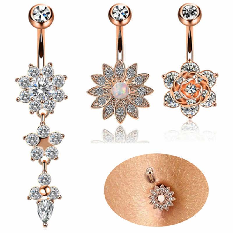 2/4/5/6/7Pcs/Set Surgical Steel Piercings  14G Navel Piercings Belly Button Piercing Dangle Earrings Belly Bar Sexy Body Jewelry