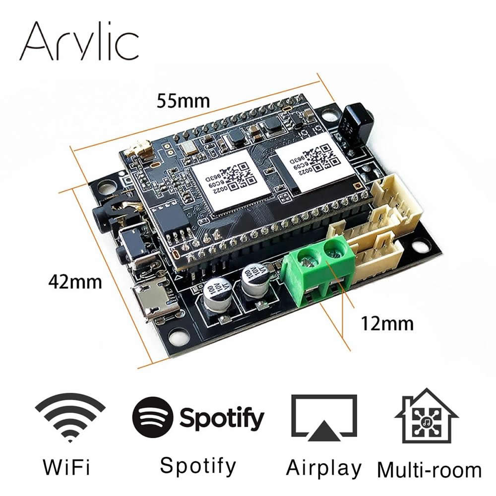 Up2stream Mini WiFi Audio Receiver Module With Spotify Airplay DLNA 24bit 192kHZ FLAC Multiroom Board