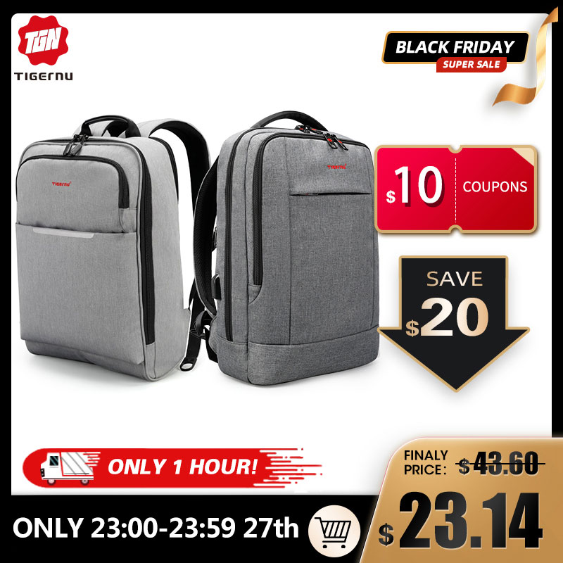 USB Backpack Discount Travel Anti-Theft Casual Fashion Tigernu Big Men for Male
