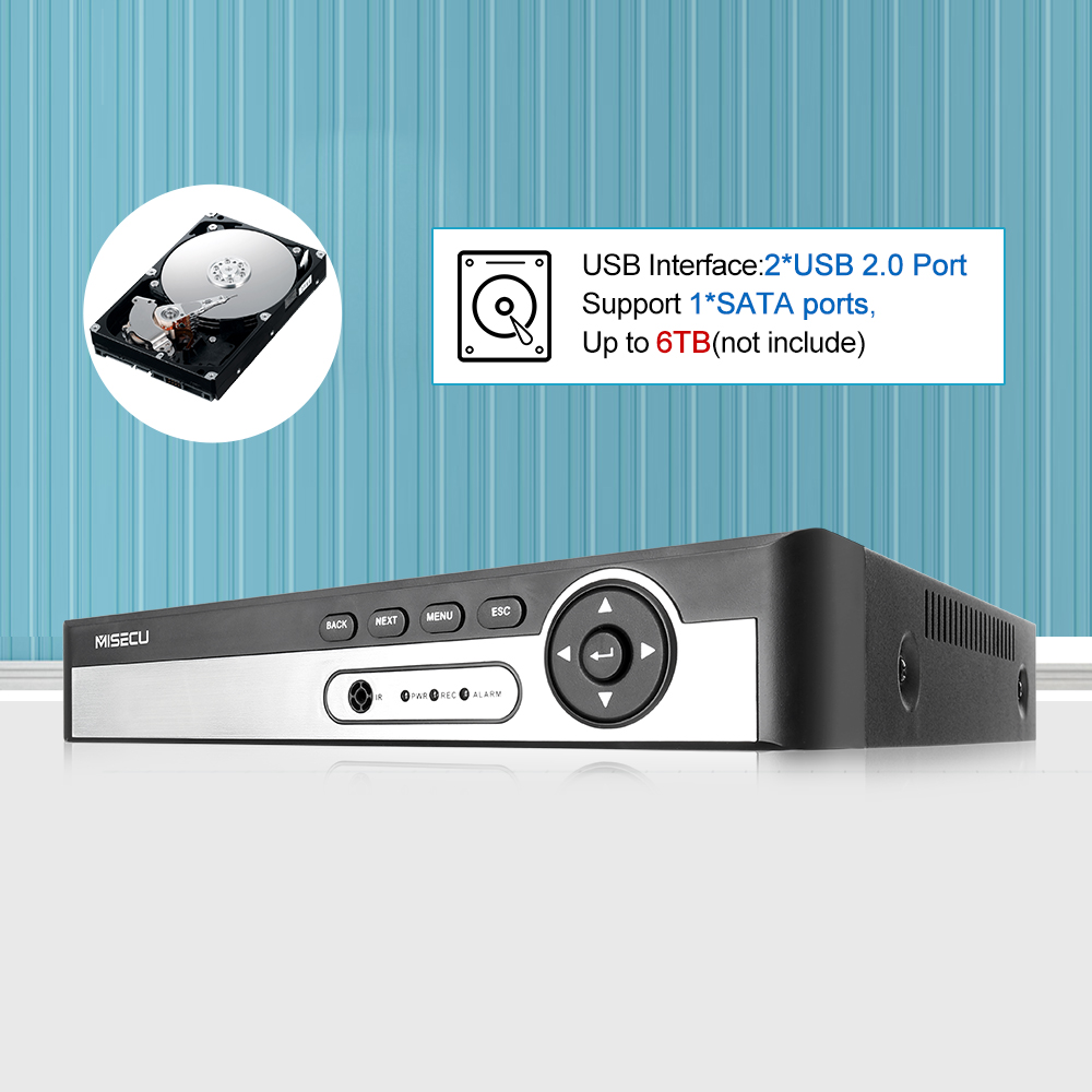cheapest MISECU H 265 Max 5MP 4CH 8CH 48V POE NVR Up to 8CH 16CH Audio Out Surveillance Security Video Recorder For POE IP Camera