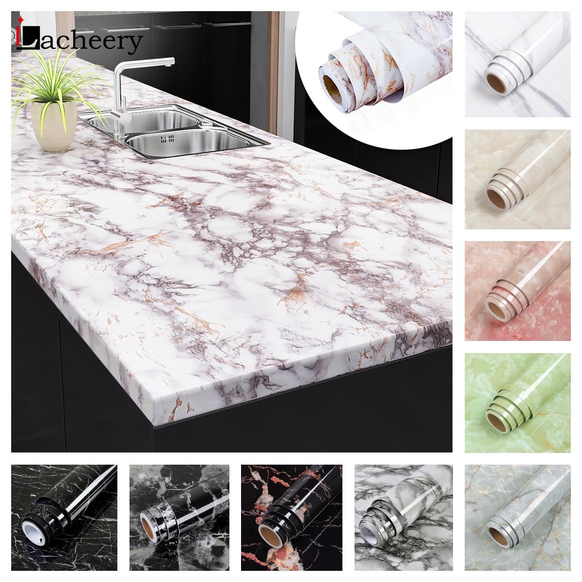 50 Colors Waterproof Oil-proof Marble Self Adhesive Wallpaper Vinyl Film Wall Stickers Bathroom Kitchen Cupboard Home Decoration