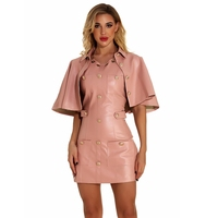 2020 Women Pink Two 2 Pieces PU Summer Short Sleeve Button Fashion Dress Club Mini Bodycon Solid Celebrity Party Wholesale