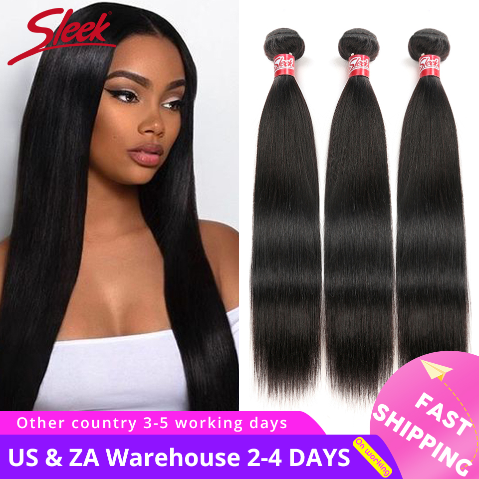 Sleek Brazilian Straight Hair Weave Bundles 100% Human Hair Bundles 3/4 Pcs Non Remy Hair Extensions Free Shipping Cabelo Humano