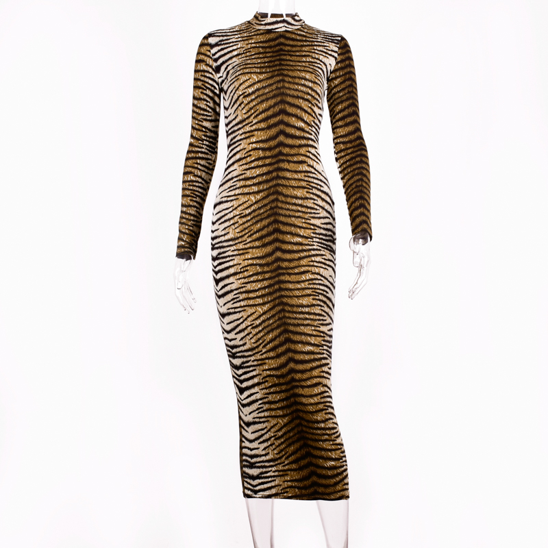 Hugcitar leopard print long sleeve slim bodycon sexy dress 2019 autumn winter women streetwear party festival