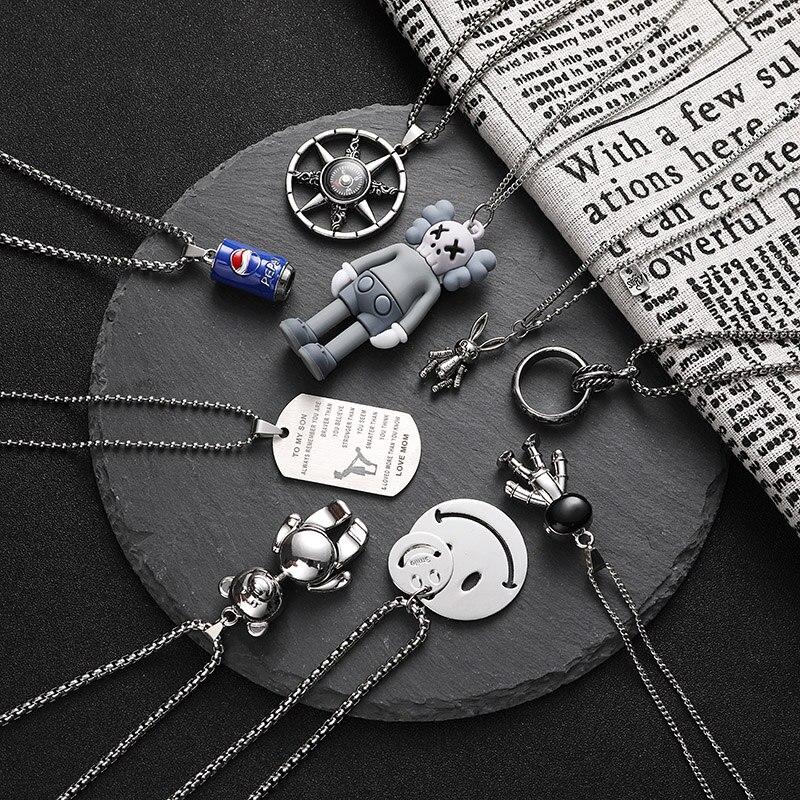 punk Long simple black titanium steel sweater chain 2020 hip hop pendant man necklace fashion woman jewelry naszyjnik ketting