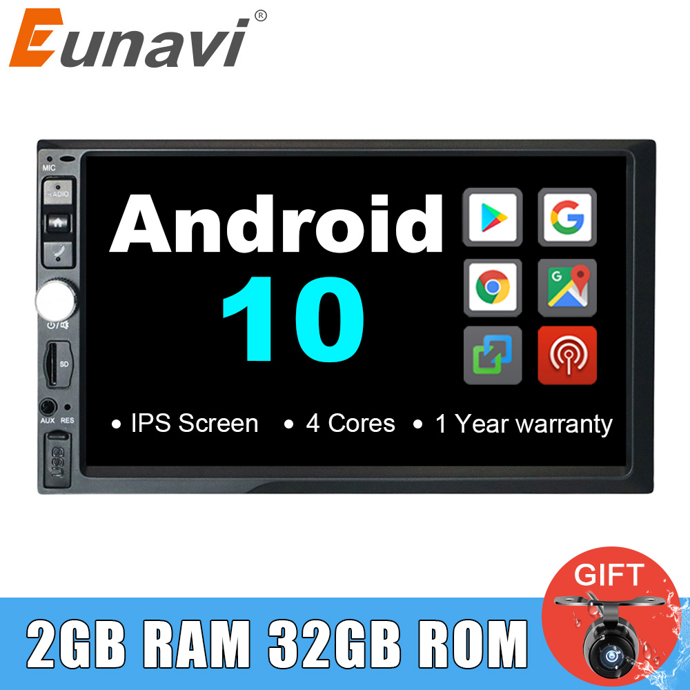 Eunavi 7 zoll 2 din Android 10 Universal Car Multimedia Radio Stereo-Player GPS navigation IPS Bildschirm touch autoradio steuergerät