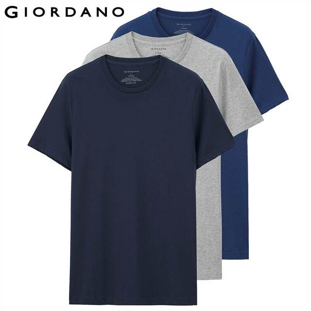 Giordano Men T Shirt Cotton Short Sleeve 3-pack Tshirt Solid Tee Summer Beathable Male Tops Clothing Camiseta Masculina 01245504 2