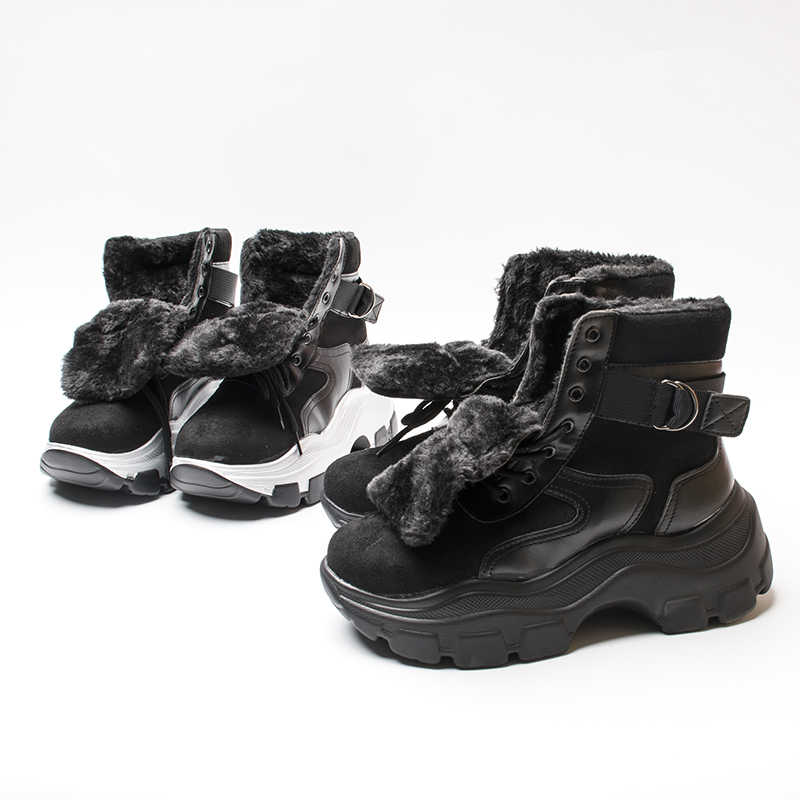 Fujin/женские ботинки на платформе; Новинка 2019 года; зимняя обувь с Плюшевым Мехом; женские дышащие ботинки в стиле ретро; женские теплые зимние ботинки; ботинки-кроссовки