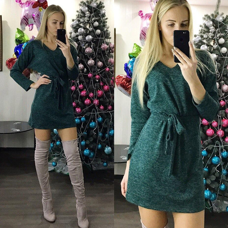 2019 Autumn Winter Women Casual Solid Mini Dress Ladies V Neck  Long Sleeve Sashes Straight Dress Vintage Female Party Dresses