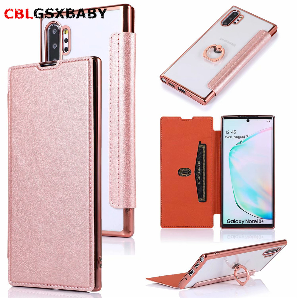 For <font><b>Samsung</b></font> S10 <font><b>S9</b></font> Plus TPU Ring stand Transparent & Wallet Leather <font><b>Flip</b></font> Back Cover Phone <font><b>Case</b></font> For <font><b>Samsung</b></font> NOTE 10 9 A10 20 50 image