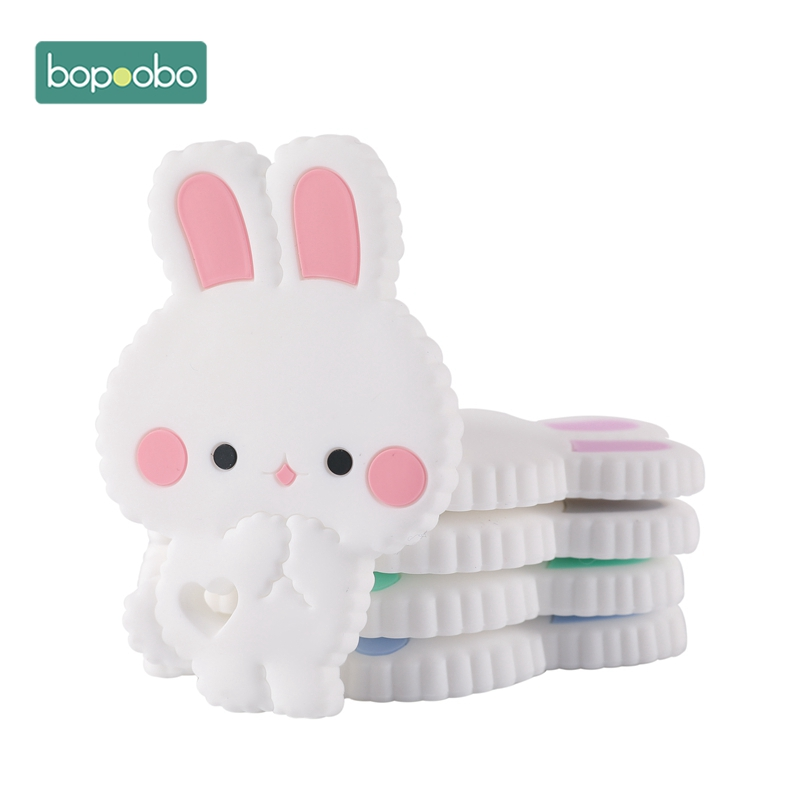 Bopoobo Tiny Rod Baby Teether Infant 10PCS Bunny Rodent Teething Chewable BPA Free Food Grade Silicone Baby Mobile Toys Nursing