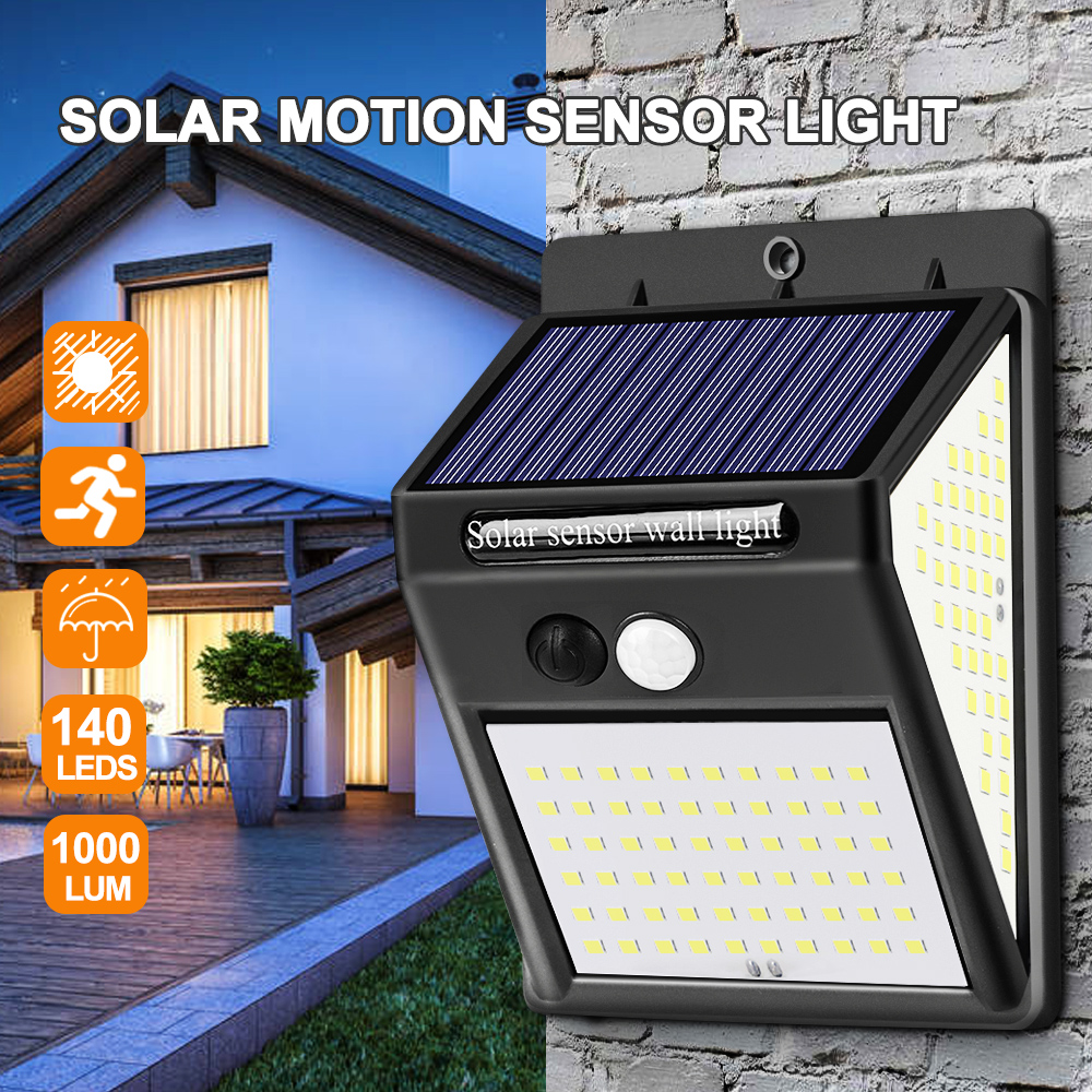 140LED Solar Light Outdoor Solar Lamp Powered Sunlight Waterproof PIR Motion Sensor Street Light For Garden Decoration