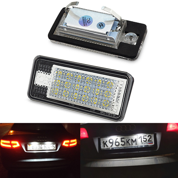 цена на OXILAM 2x Car LED License Number Plate Light Lamp 12V LED White Light for Audi A3 S3 8P A4 B6 B7 A5 A6 4F Q7 A8 S8 C6 Cabriolet