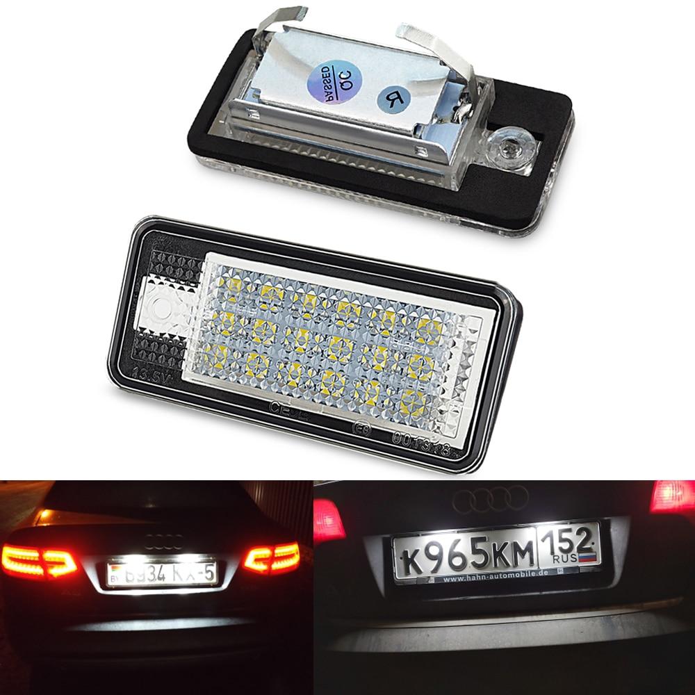 OXILAM 2x samochodów LED światło do tablicy rejestracyjnej lampy 12V LED białe światło dla Audi A3 S3 8P A4 B6 B7 A5 A6 4F Q7 A8 S8 C6 kabriolet