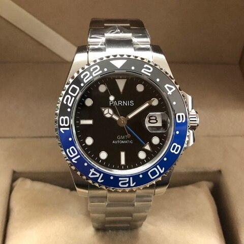 Homem de Cristal Parnis Preto Azul Bezel Relógios Mecânicos Homens Gmt Safira Mergulhador Relógio Automático Papel Marca Luxo 2020 40mm