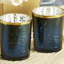 Золотые, темно-синие свечи из меркуриного стекла, креативные вечерние украшения в европейском стиле, Рождественский подсвечник