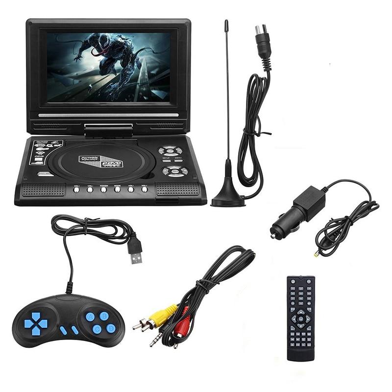 7.8 Polegada tv casa leitor de dvd do carro portátil hd vcd cd mp3 hd dvd player usb cartões sd rca jogo cabo portátil 16:9 girar lcd sn|DVD e VCD Player|   -