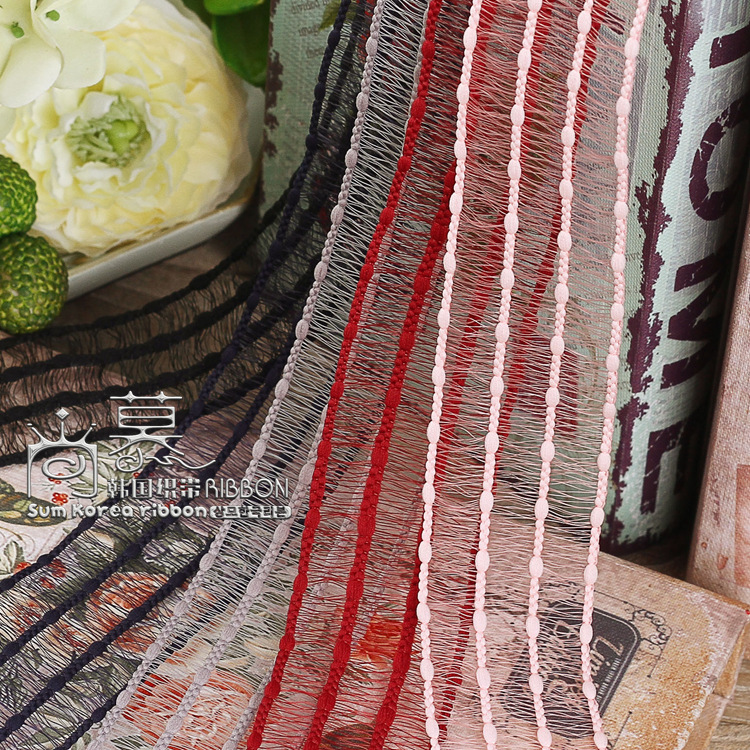 100yards 16 25 40mm stitched stripes tassel ribbon for garment accessories bouquet flower gift packing hair bow accessories in Ribbons from Home Garden