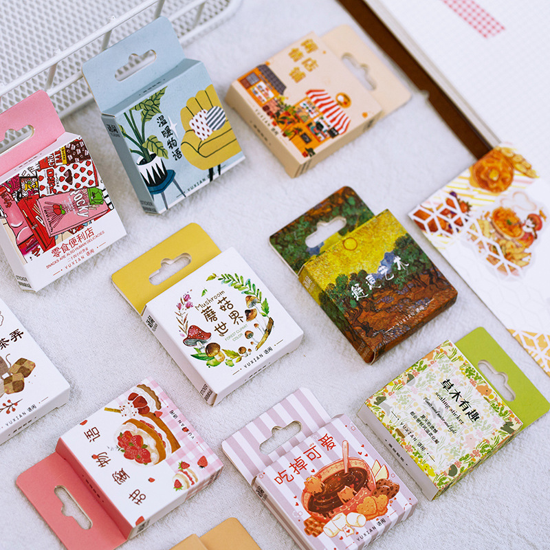 Mohamm 50 PCS Boxed Stickers Autumn Whispering Series Fresh Decorative Sticker Flakes Scrapbooking Gift Girl School Supplies