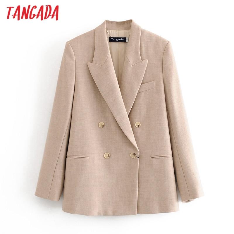 Tangada Women Solid Khaki Blazer Female Long Sleeve Elegant Jacket Ladies Work Wear Blazer Formal Suits 3H609