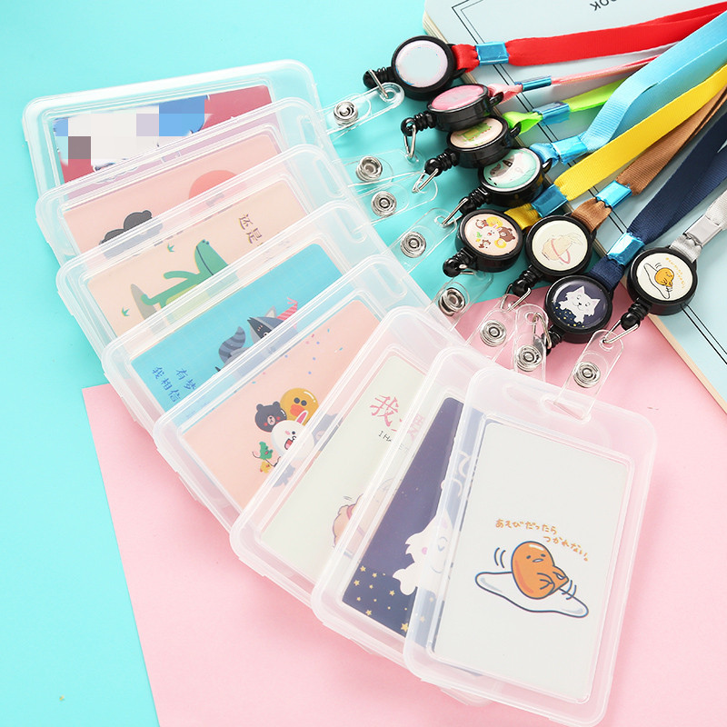 Cartoon Cute Transparent ID Badge Case Card Holder With Lanyard Animals Bank Credit Card Holders ID Badge Holders Accessories