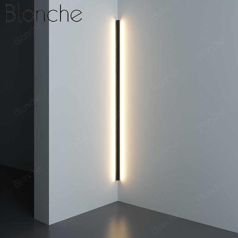 Modern Corner LED Wall Lamp Minimalist Line Wall Light Fixtures Stair Wall Sconces Bedroom Bedside Hallway Lighting Decor 100cm