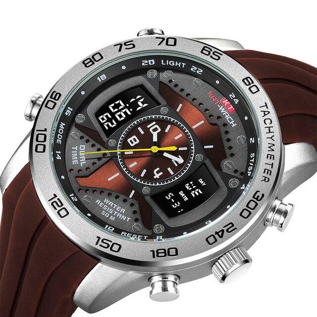 Kt714 الرجال في الهواء الطلق الرياضة مضيئة عمق مقاوم للماء ساعة الإلكترونية ساعة كوارتز الساعات الإبداعية 2