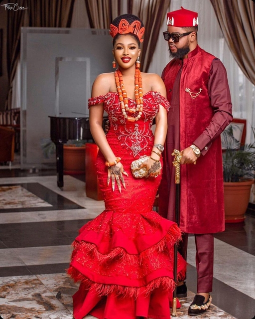 Luxury Red Feathers Aso Ebi Evening Dresses Cap Sleeves Sweetheart Mermaid Plus Size Beaded Formal Party Prom Gowns 2021 6