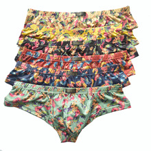 6Pack Men Small Boxer Milk Silk Ginkgo Leaf Print Boxer Shorts Bulge Pouch Underpants Gay Panties Mens Underwear Boxers