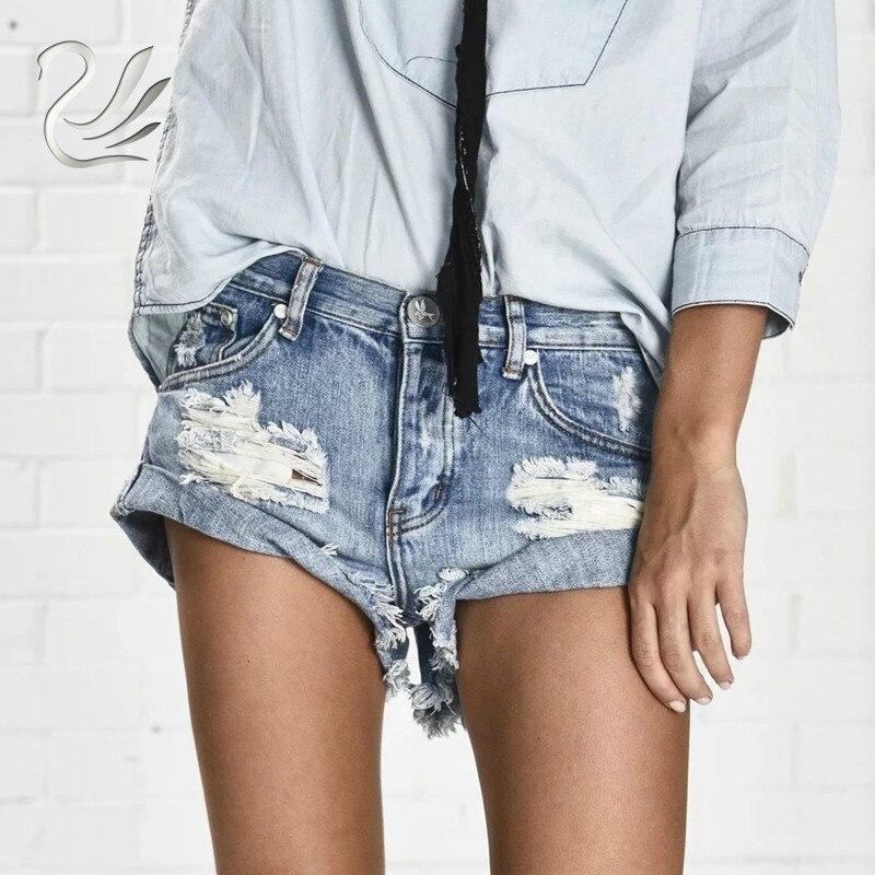 Vanlo Apparel 50's Vintage Ripped Hole Fringe Blue Denim Shorts Women Casual Button Pocket Jeans Shorts 2019 New Style Shorts
