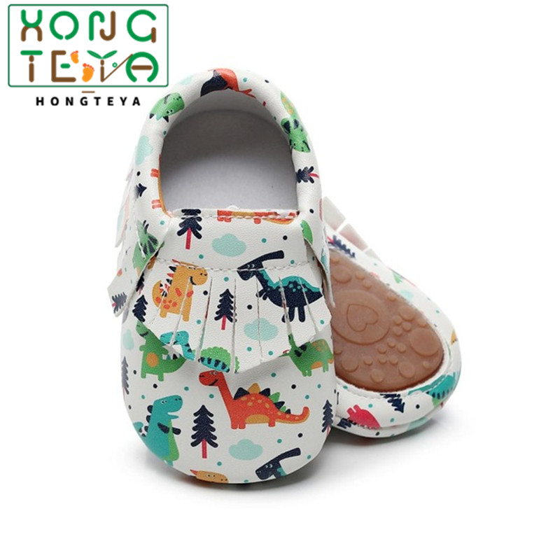 Christmas Floral Printed Baby Hard Sole Shoes Fringe Bow Newborn PU Leather Moccasins Fox Dinosaur Pumpkin Prewalker Flat Shoes