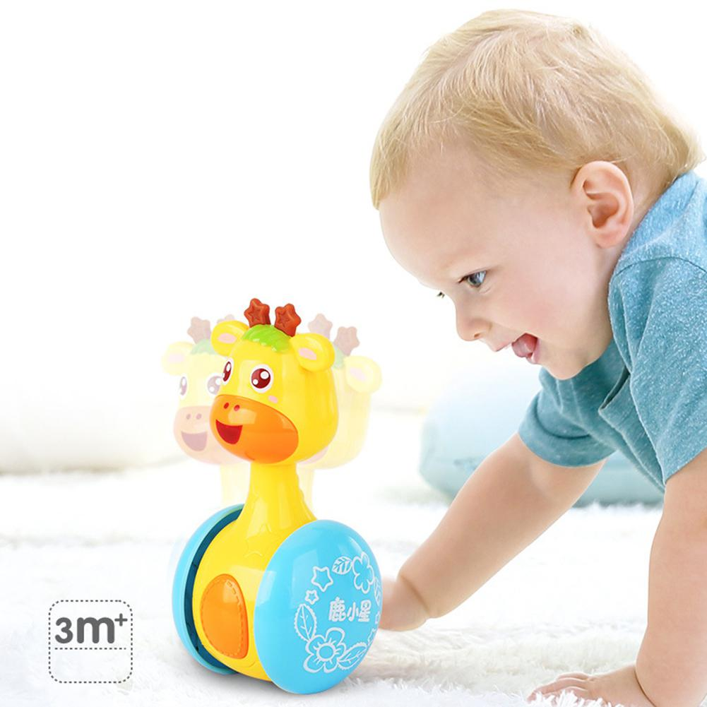 Kuulee Cartoon Giraffe Tumbler Doll Roly-poly Baby Toys Cute Rattles Ring Bell Newborns 3-12 Month Early Educational Toy