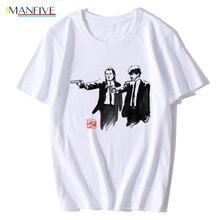 цена на Movie Pulp Fiction T Shirt Mens Uma Thurman Mia Wallace Quentin Tarantino Tees Short Sleeve Top Men Clothing XS-XXL