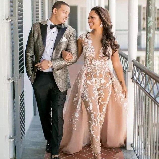Фото комбинезоны boho свадебные платья воротник sheer jewel пляжные