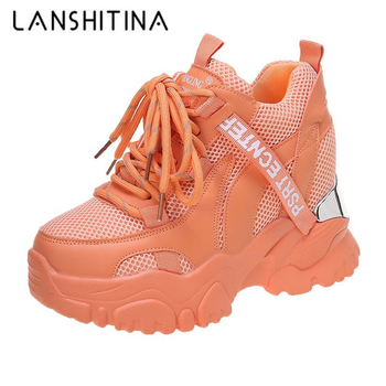 2021 Spring Women Chunky Sneakers Breathable Mesh Casual Shoes 10cm Wedge Heels Platform Chaussures Femme Sports Dad