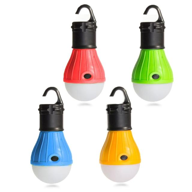 Mini Portable Lantern Tent Light LED Bulb Emergency Lamp Waterproof Hanging Hook Flashlight For Camping 4 Colors Use 3*AAA 2