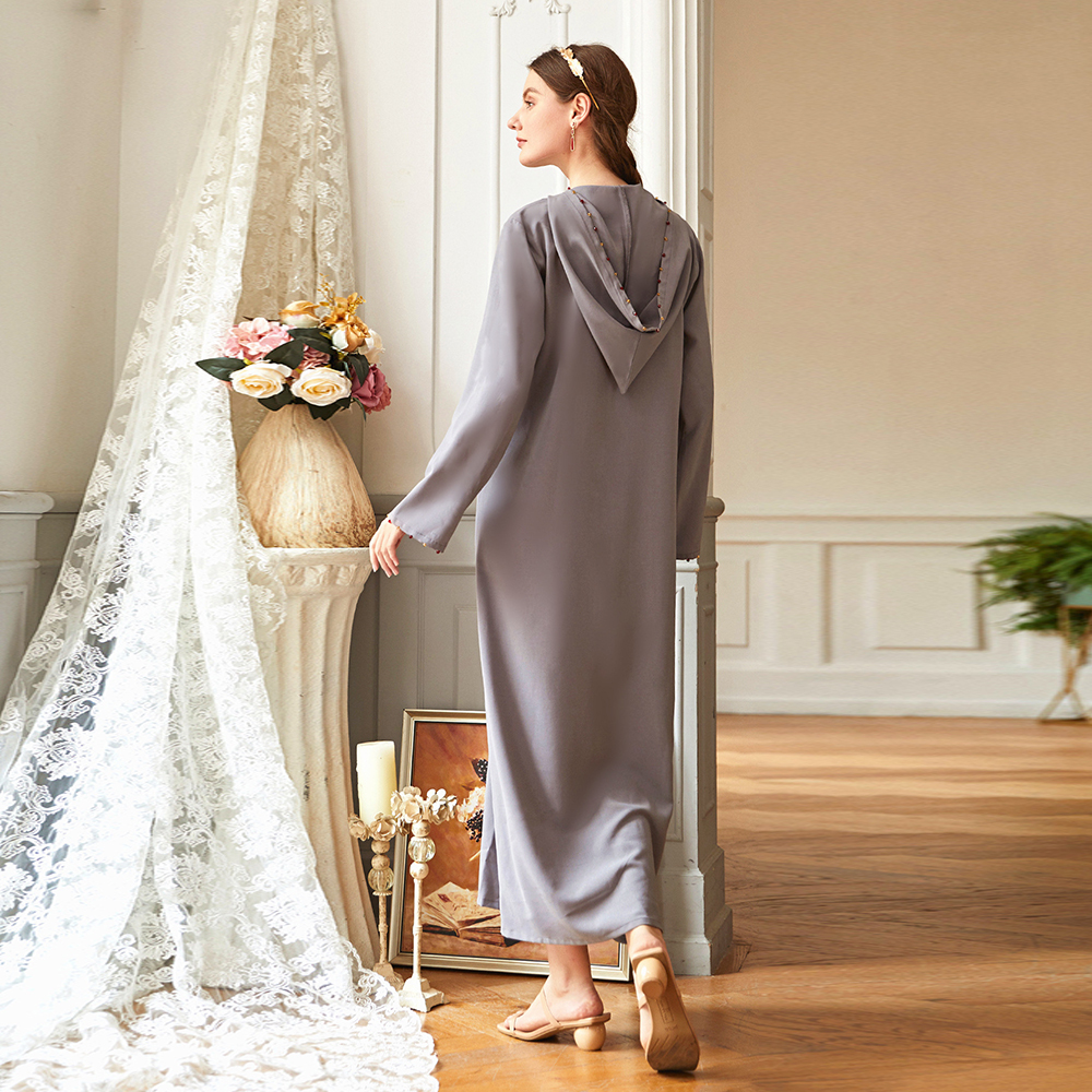 Eid Mubarak Kaftan迪拜Abaya土耳其穆斯林Hijab禮服伊斯蘭教服裝Abayas女禮服長袍Musulman De Mode Vestidos女士女裝Abaya女裝cb5feb1b7314637725a2e7:灰色連衣裙