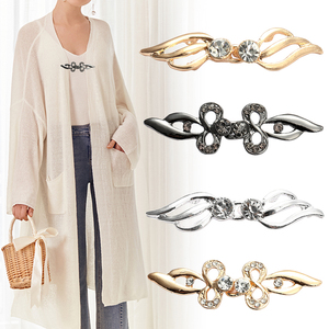 Vintage Cardigan Collar Clips Holder One Pair Fashion Women Decor Shiny Crystal Cape Cloak Clasps Fasteners Buckle Brooch Clip(China)