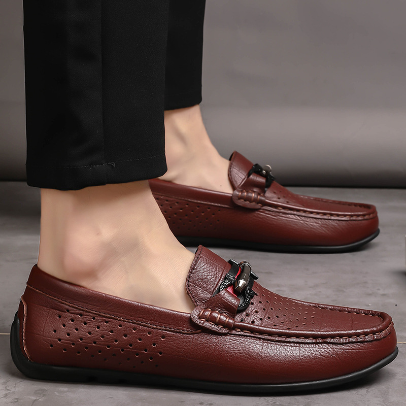 Shoes Zapatos Hombre Genuine Leather Full Grain Leather Low Top Casual Shoes Men