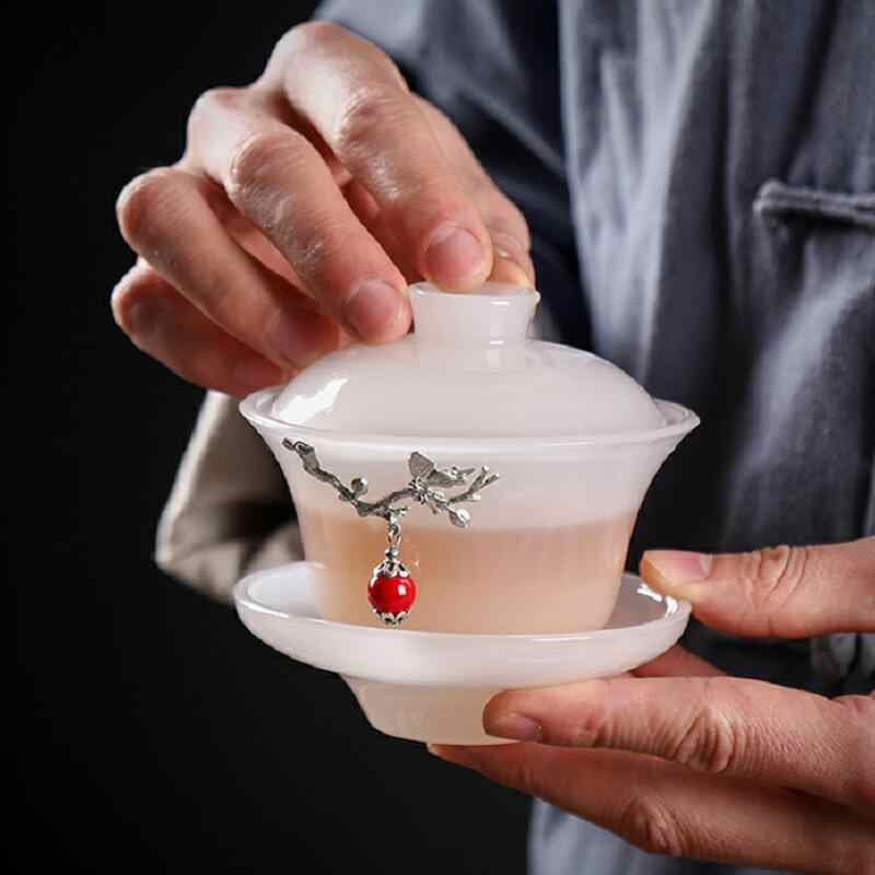 ชาชามจานรองชุดฝาปิด 150ml หยกพอร์ซเลน Gaiwan Silver Decor ชา Tureen จีน Kung Fu ชาชุด Drinkware teaware คอนเทนเนอร์