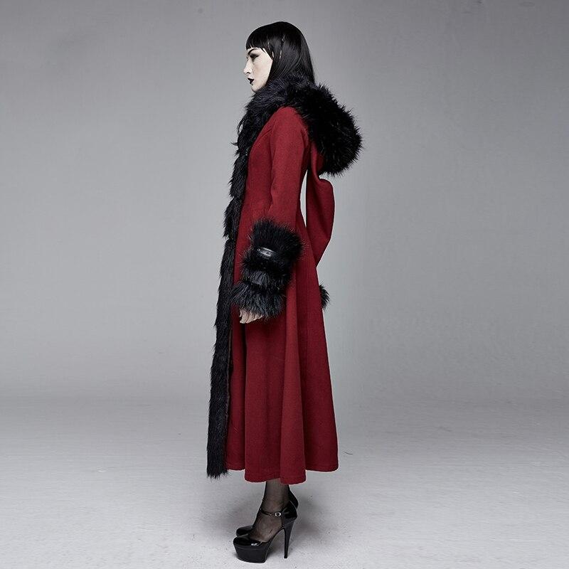 Teufel Retro Rot Damen Feder Warme Wolle Mantel Tasche Partei Langen Mantel Warme Winter Mantel Frauen - 4