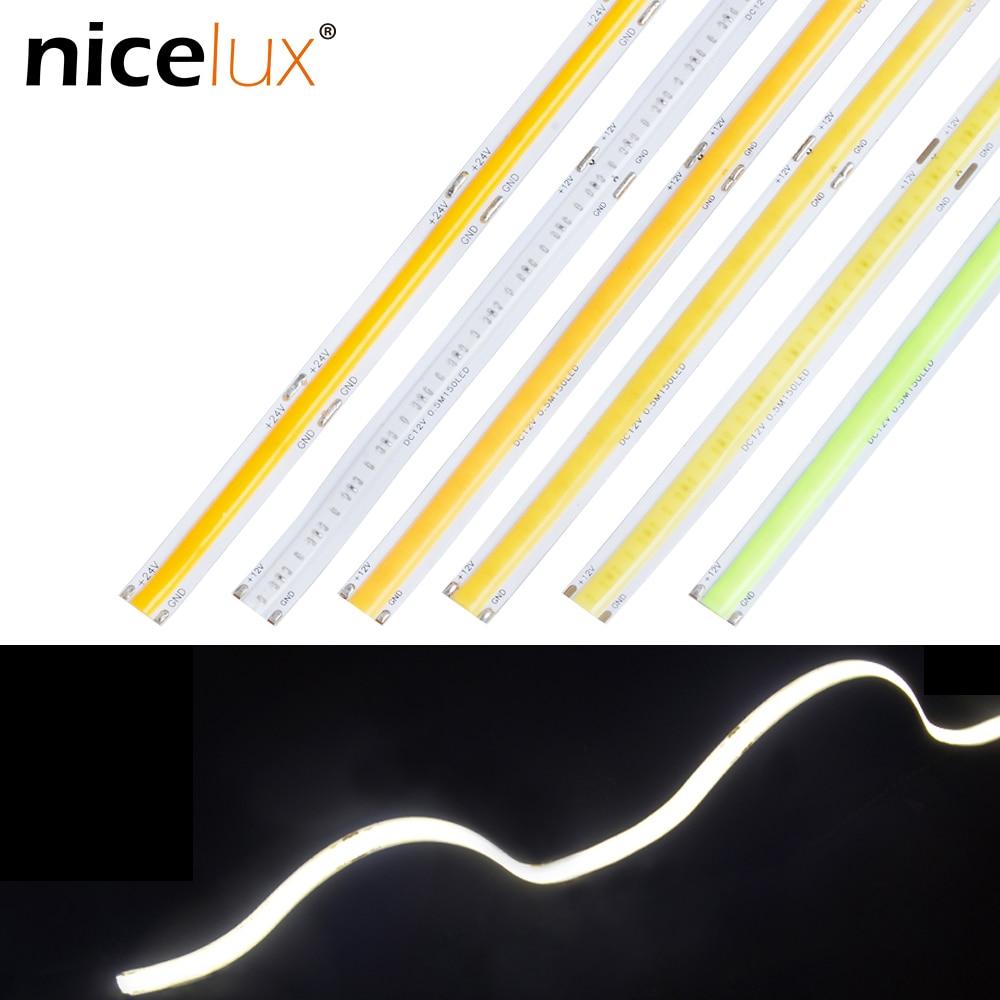 Flexible FR4 COB LED Strip Light DC12V High Density 300leds/m Cuttable RA80 No Spot Linear For Dance Party Home Decor DIY Light