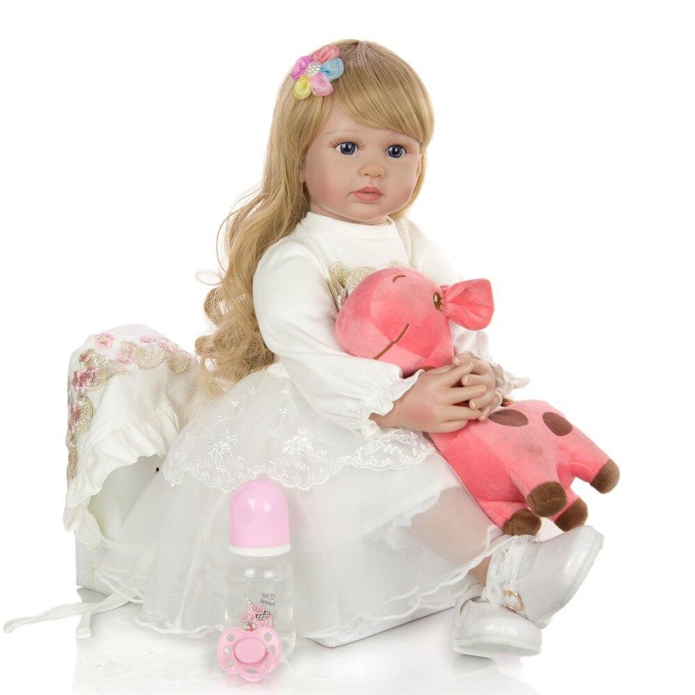 60cm Silicone Reborn bébé poupée jouets 24 pouces vinyle princesse rebornbambin bebe poupées lol cadeau d'anniversaire présent enfant jouets - 2