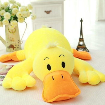 New 50/60/75cm Stuffed Down Cotton Lying Duck Lovely Yellow Plush Toys for Children Soft Pillow Cushion Nice Birthday Gift