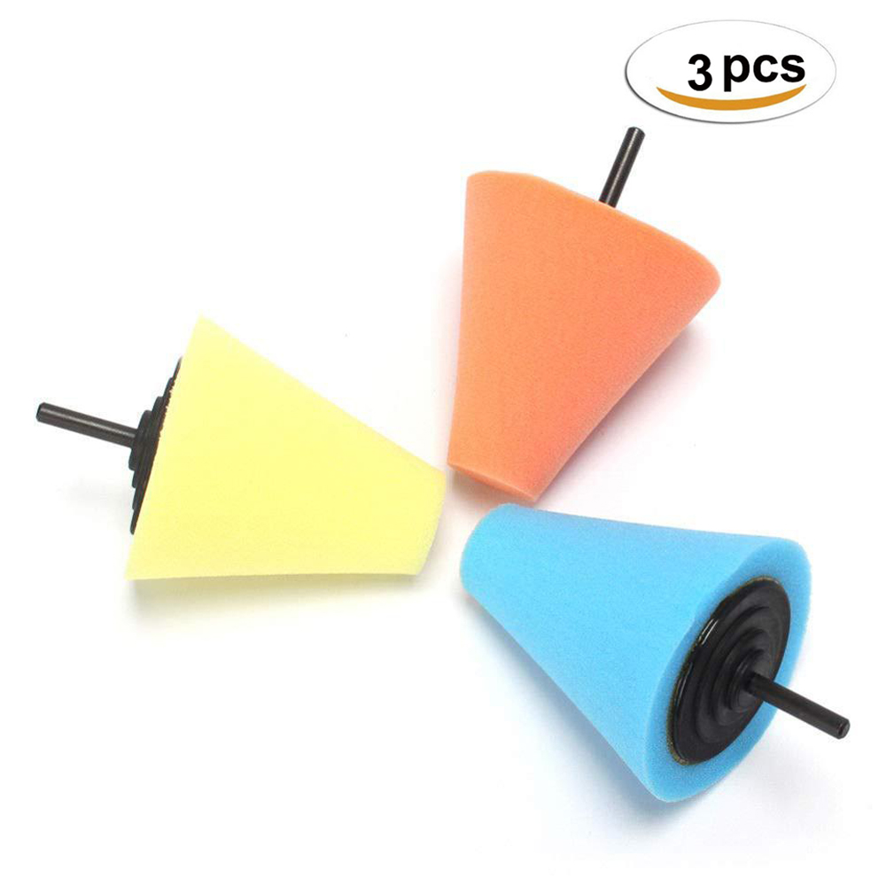 3 Pcs 80mm M10 Cone Sponge Pads Polishing Wheel Buffing Car Beauty Waxing Car Polishing Pad Set Polisher Buffer Waxing Tool Kit