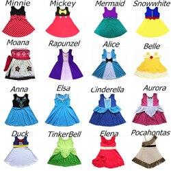 Girls Princess Soft Dress Valentine Birthday Elsa Anna Olaf Costume Ariel Buzz Boo Peep Belle Minnie Wonder Women Cosply Dress