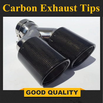 One Piece Car Styling Ak Car Glossy Carbon Exhausts Dual Tips Universal AK Glossy Carbon Dual End Pipe Muffler Pipes