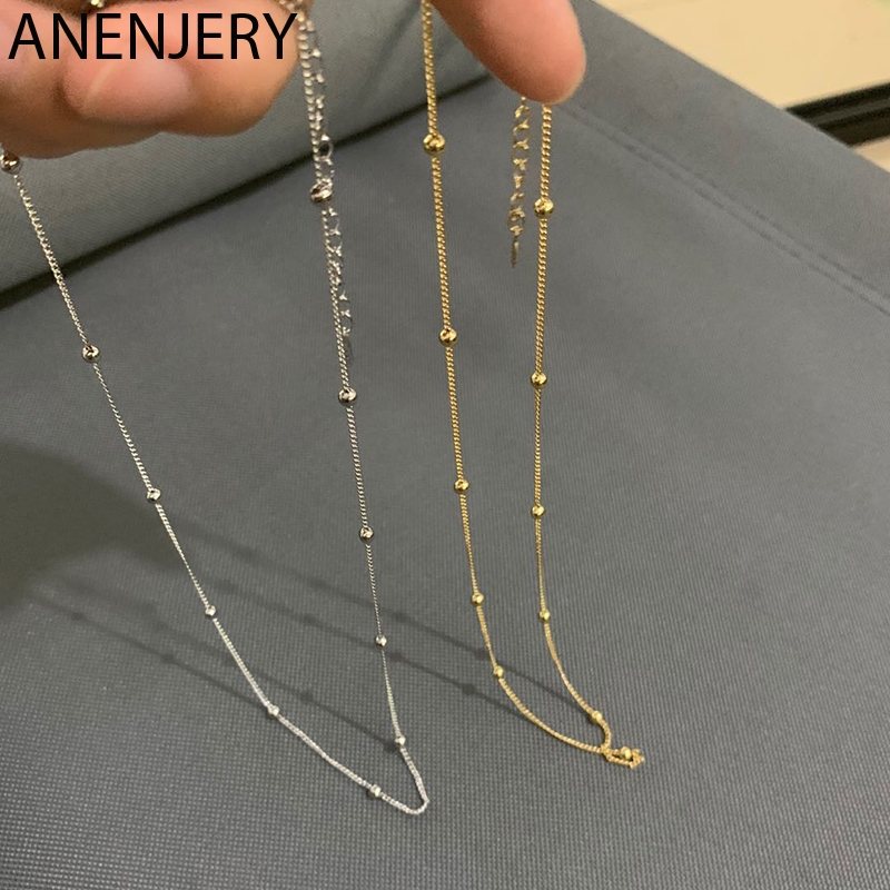 ANENJERY 925 Sterling Silver Simple Gold Beads Chain Necklace For Women Men collares Delicate Clavicle Chain S N674