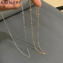 ANENJERY – collier en argent Sterling 925 pour hommes et femmes, chaîne de perles d'or Simple, délicat, clavicule