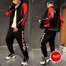 New fashion brand LOGO Zipper Tracksuit Men Set Sporting 2 Pieces Sweatsuit Men Clothes Printed Hooded Hoodies Jacket(China)